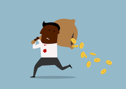 Cartoon african american businessman running with money bag on his shoulders and losing golden coins that poured out from a hole in the bag