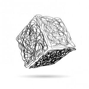 Vector sign scribble of a cube